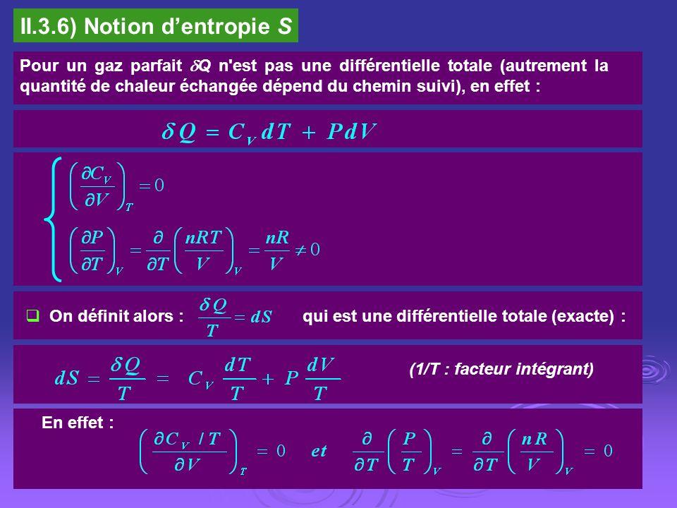 II.3.6) Notion dentropie S Pour un gaz parfait Q n'est pas une différentielle totale (autrement la quantité de chaleur échangée dépend du chemin suivi