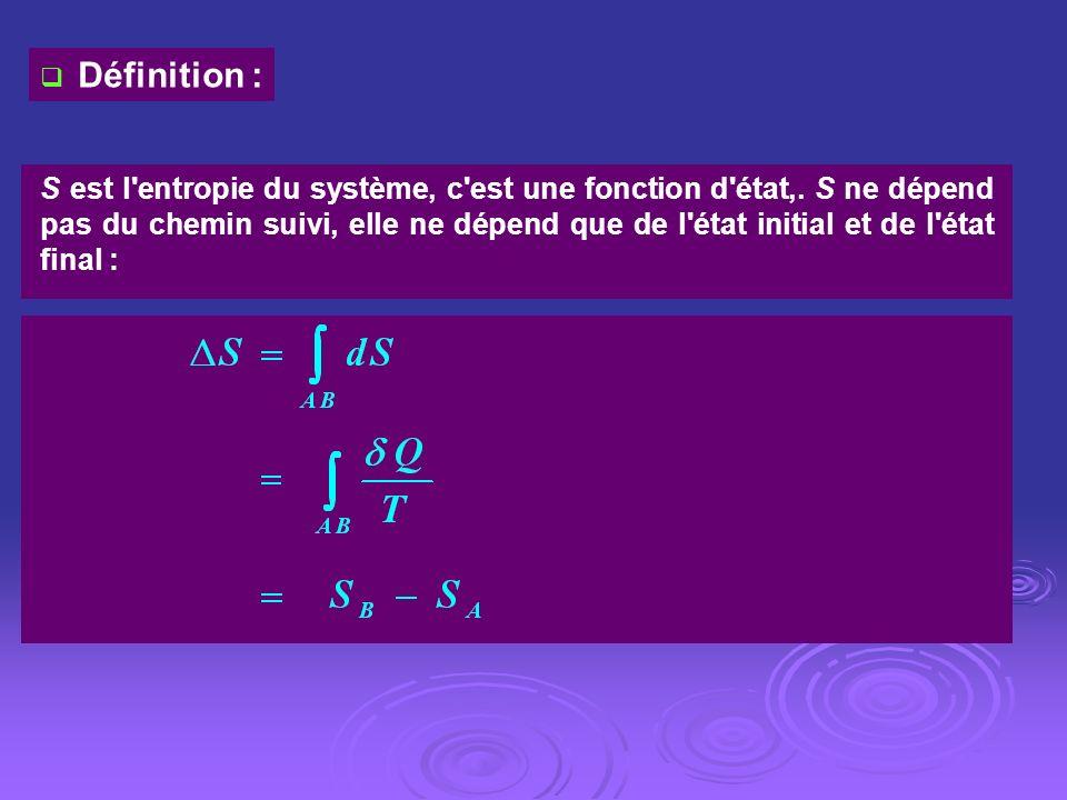 Définition : S est l'entropie du système, c'est une fonction d'état,. S ne dépend pas du chemin suivi, elle ne dépend que de l'état initial et de l'ét