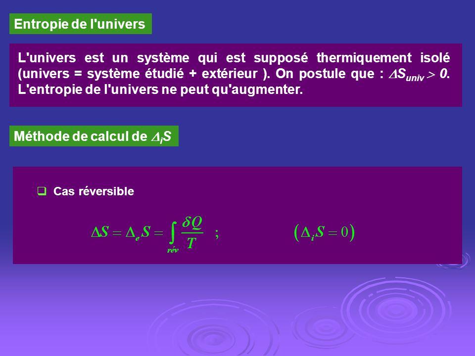 Entropie de l'univers L'univers est un système qui est supposé thermiquement isolé (univers = système étudié + extérieur ). On postule que : S univ 0.