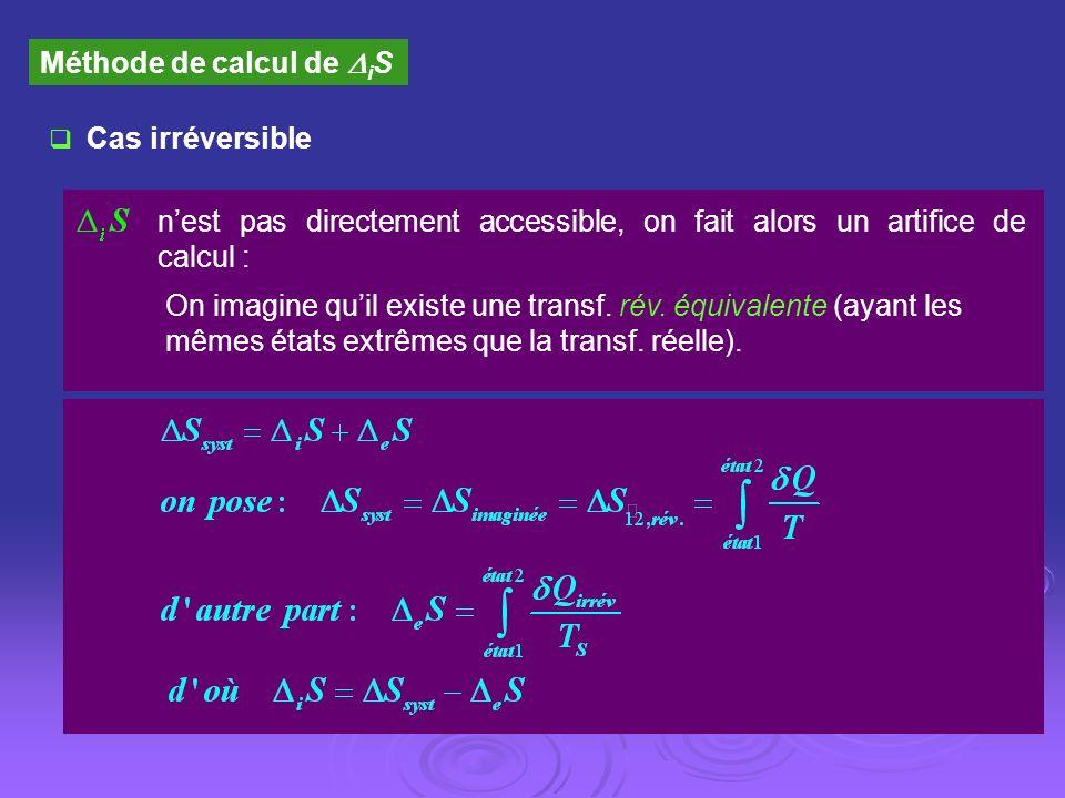 Méthode de calcul de i S Cas irréversible nest pas directement accessible, on fait alors un artifice de calcul : On imagine quil existe une transf. ré