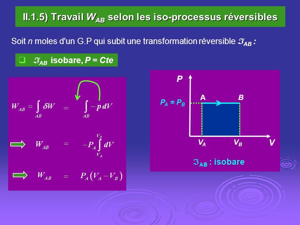 II.1.5) Travail W AB selon les iso-processus réversibles Soit n moles d'un G.P qui subit une transformation réversible AB : AB isobare, P = Cte P A =