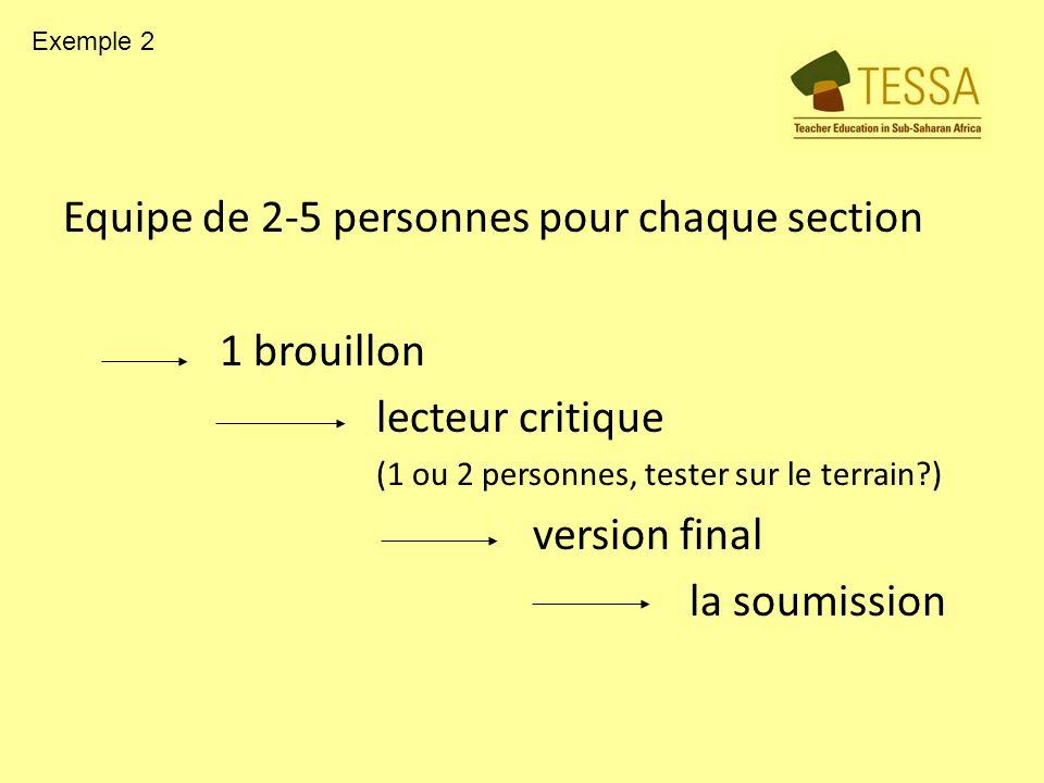 Equipe de 2-5 personnes pour chaque section 1 brouillon lecteur critique (1 ou 2 personnes, tester sur le terrain?) version final la soumission Exemple 2