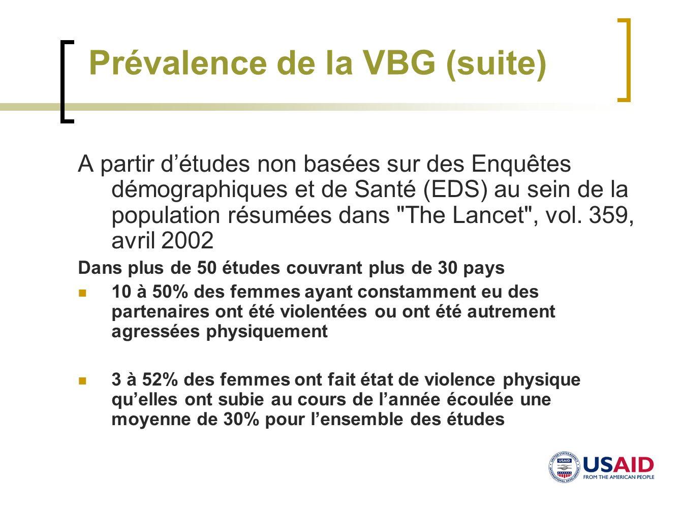 Prévalence de la VBG (suite) A partir détudes non basées sur des Enquêtes démographiques et de Santé (EDS) au sein de la population résumées dans
