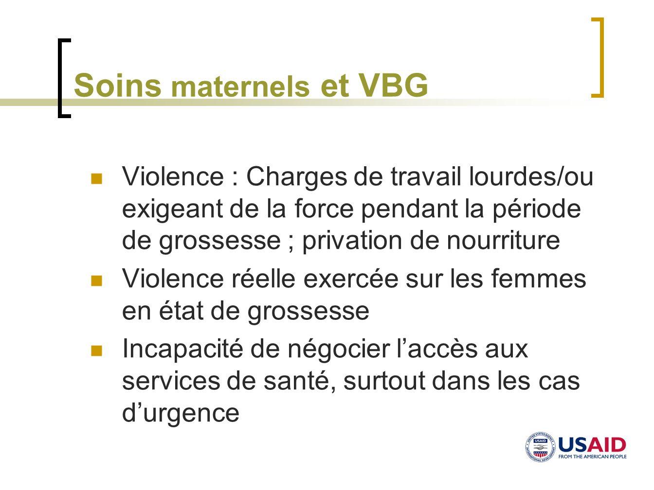 Soins maternels et VBG Violence : Charges de travail lourdes/ou exigeant de la force pendant la période de grossesse ; privation de nourriture Violenc