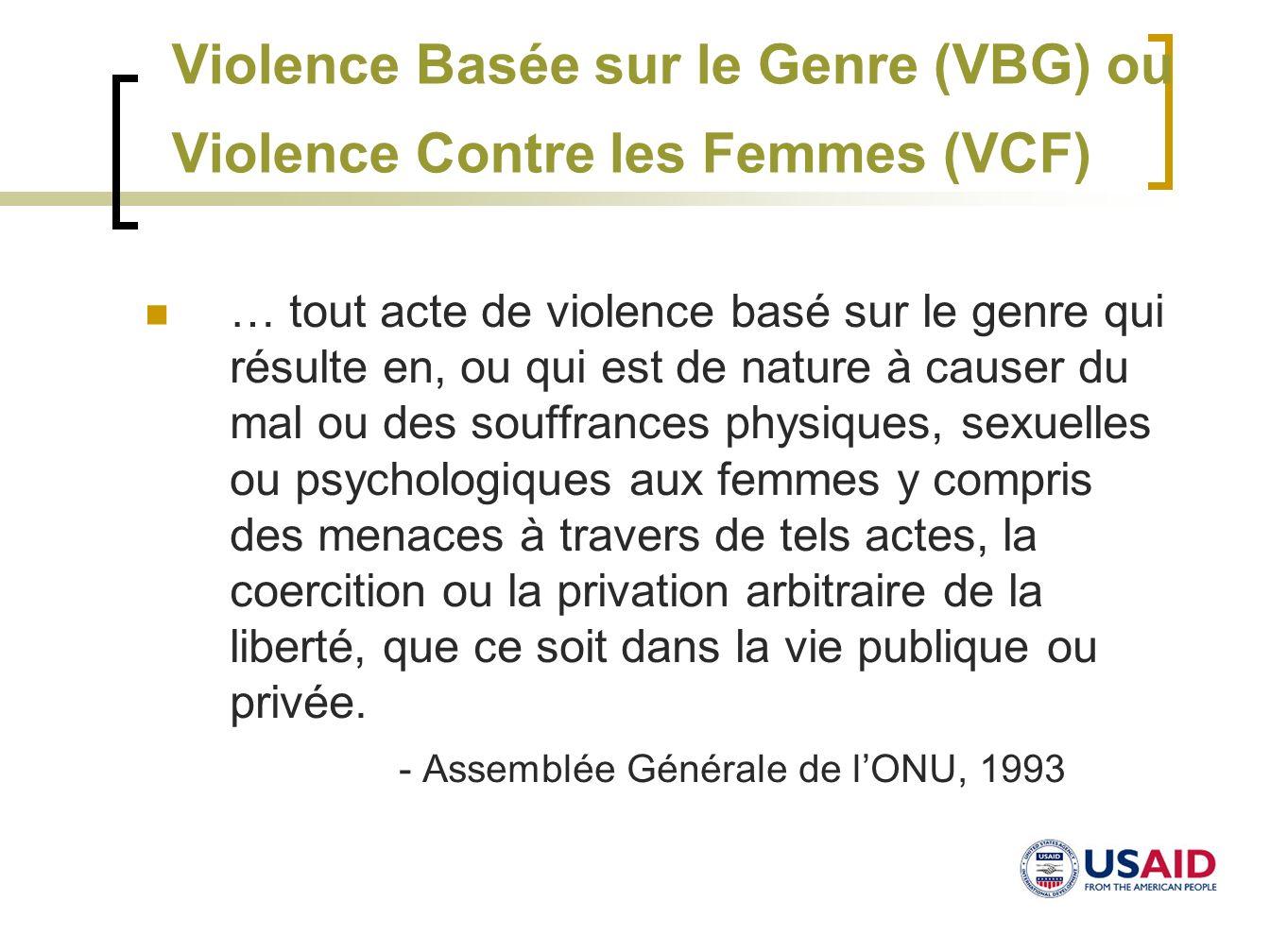 Violence Basée sur le Genre (VBG) ou Violence Contre les Femmes (VCF) … tout acte de violence basé sur le genre qui résulte en, ou qui est de nature à