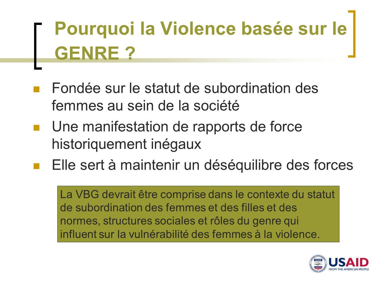 Pourquoi la Violence basée sur le GENRE ? Fondée sur le statut de subordination des femmes au sein de la société Une manifestation de rapports de forc