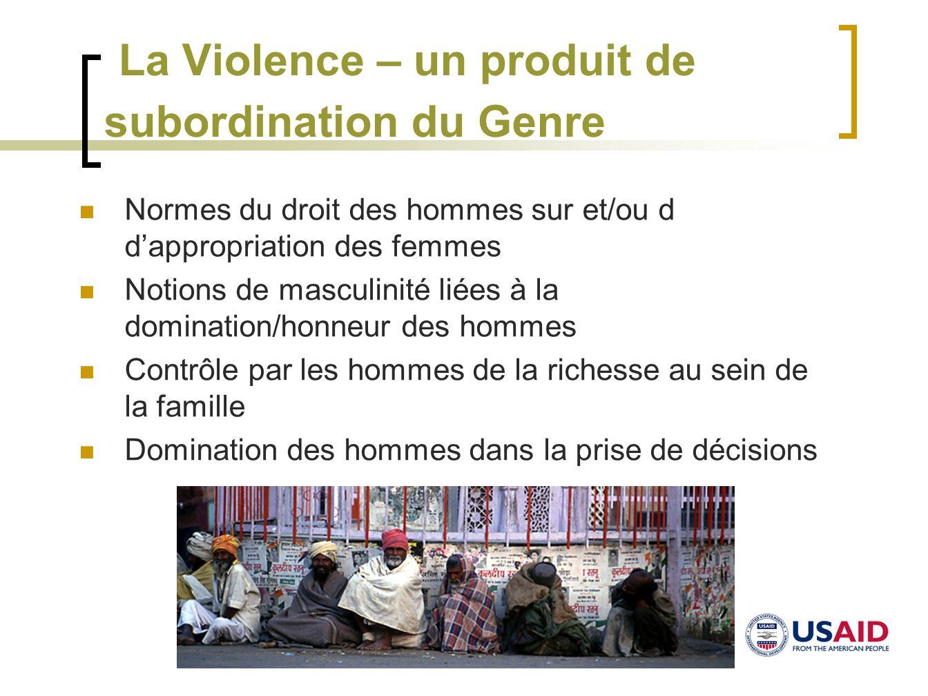 La Violence – un produit de subordination du Genre Normes du droit des hommes sur et/ou d dappropriation des femmes Notions de masculinité liées à la