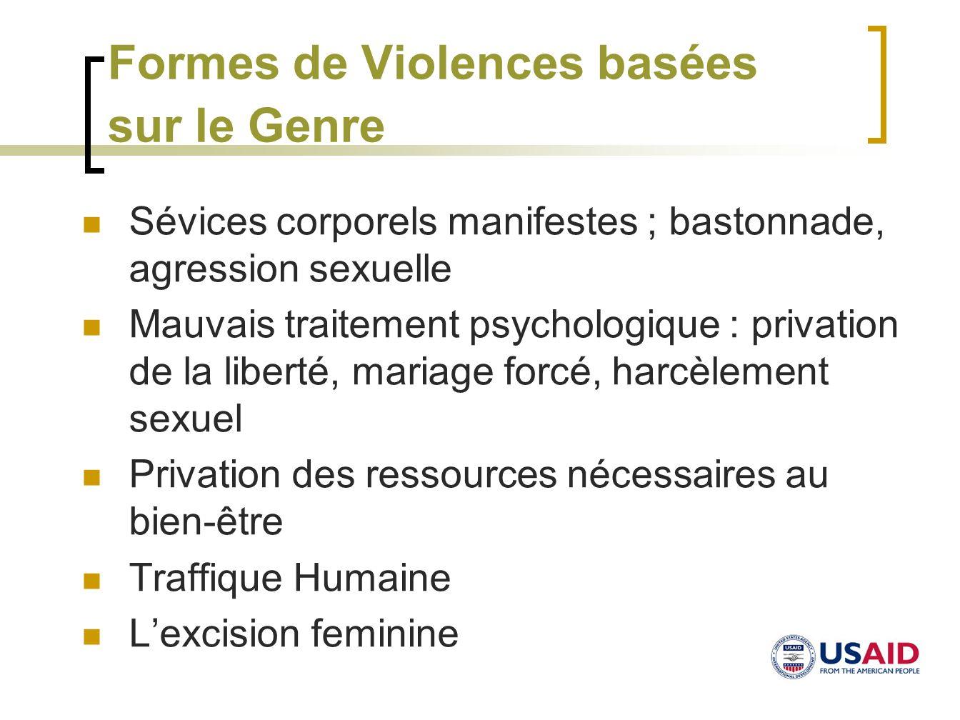 Formes de Violences basées sur le Genre Sévices corporels manifestes ; bastonnade, agression sexuelle Mauvais traitement psychologique : privation de
