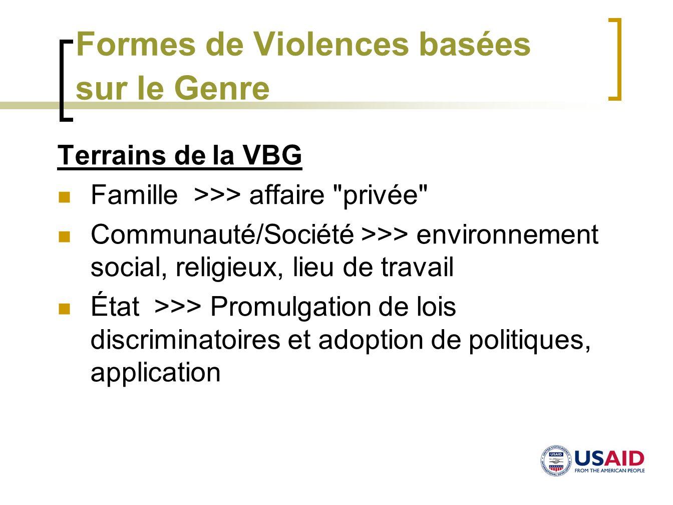 Formes de Violences basées sur le Genre Terrains de la VBG Famille >>> affaire