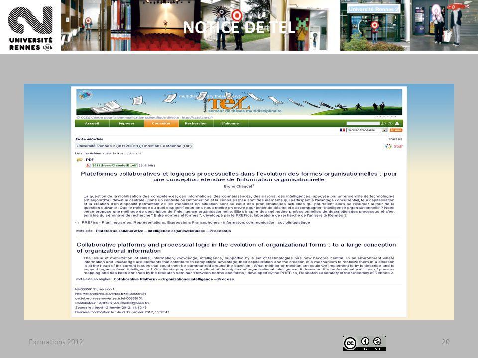 Formations 201220 NOTICE DE TEL
