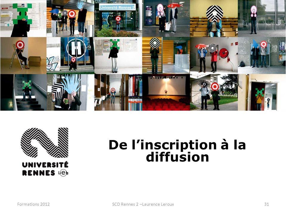 Formations 2012SCD Rennes 2 –Laurence Leroux31 De linscription à la diffusion