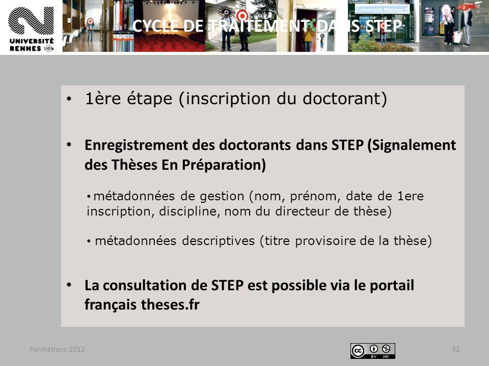 1ère étape (inscription du doctorant) Enregistrement des doctorants dans STEP (Signalement des Thèses En Préparation) métadonnées de gestion (nom, pré