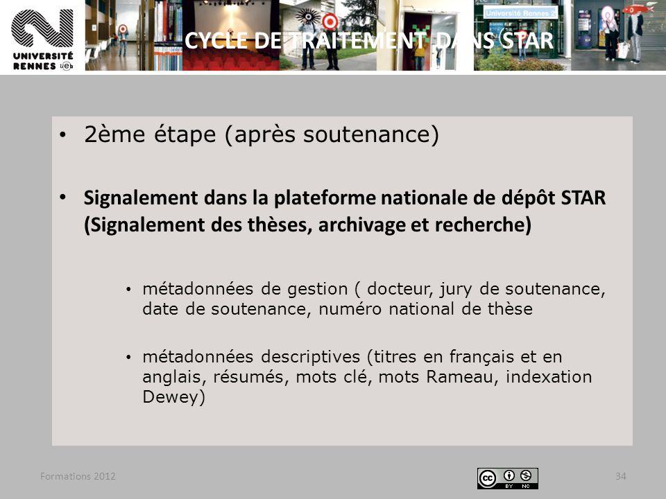 2ème étape (après soutenance) Signalement dans la plateforme nationale de dépôt STAR (Signalement des thèses, archivage et recherche) métadonnées de g