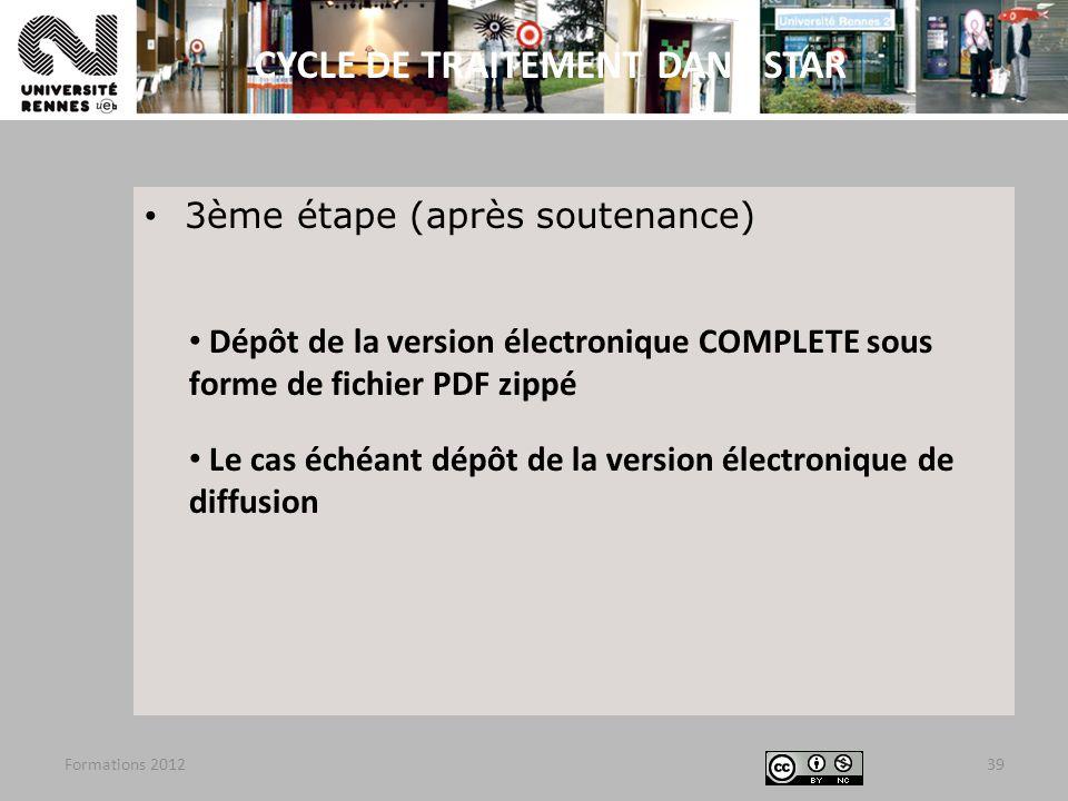3ème étape (après soutenance) Dépôt de la version électronique COMPLETE sous forme de fichier PDF zippé Le cas échéant dépôt de la version électroniqu
