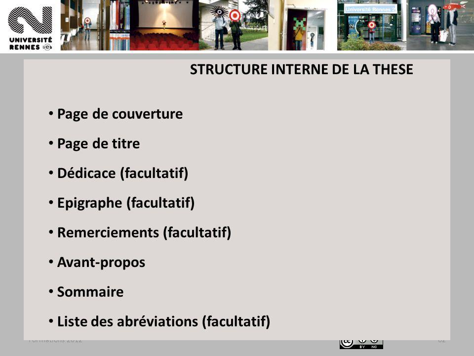 Formations 201262 Page de couverture Page de titre Dédicace (facultatif) Epigraphe (facultatif) Remerciements (facultatif) Avant-propos Sommaire Liste