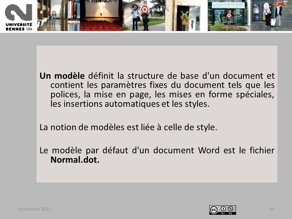 Formations 201269 Un modèle définit la structure de base d'un document et contient les paramètres fixes du document tels que les polices, la mise en p