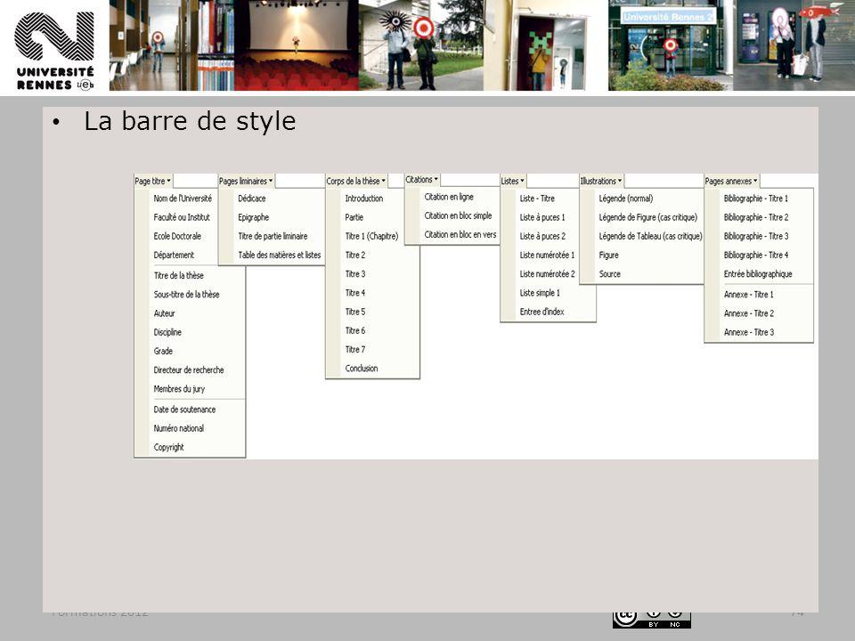 Formations 201274 La barre de style