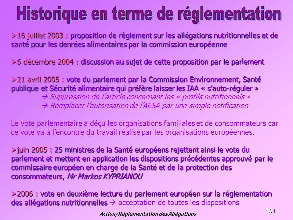 101 16 juillet 2003 : proposition de règlement sur les allégations nutritionnelles et de santé pour les denrées alimentaires par la commission europée