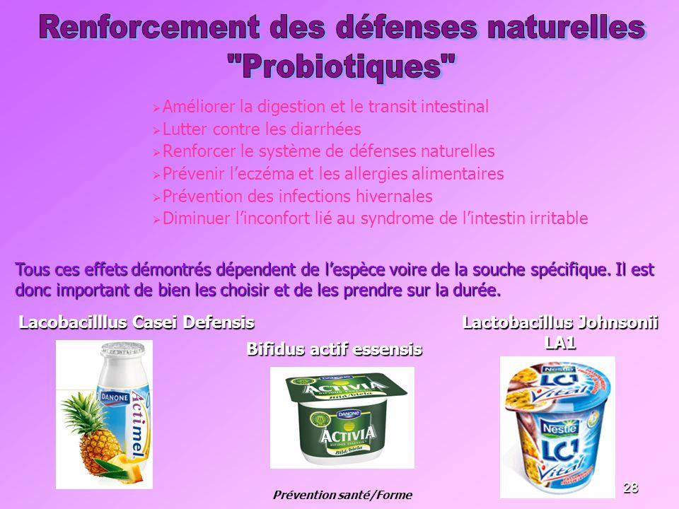 28 Améliorer la digestion et le transit intestinal Lutter contre les diarrhées Renforcer le système de défenses naturelles Prévenir leczéma et les all