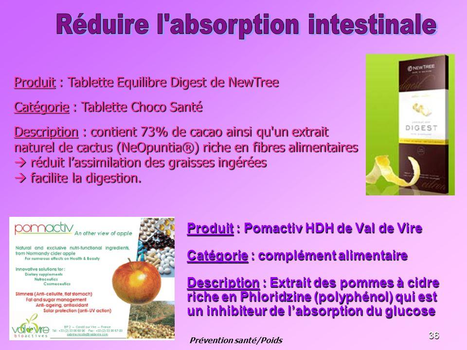 36 Produit : Pomactiv HDH de Val de Vire Catégorie : complément alimentaire Description : Extrait des pommes à cidre riche en Phloridzine (polyphénol)