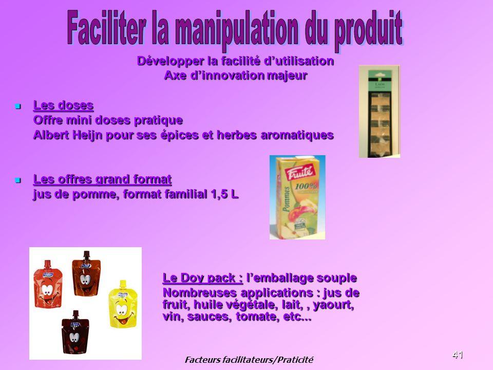 41 Développer la facilité dutilisation Axe dinnovation majeur Les doses Les doses Offre mini doses pratique Albert Heijn pour ses épices et herbes aro