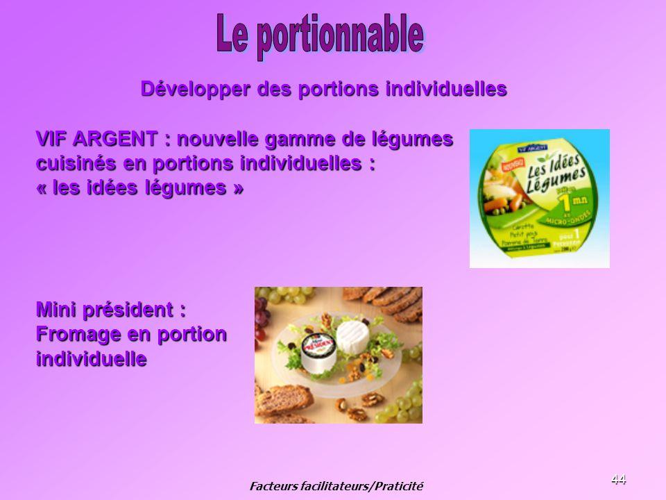 44 Développer des portions individuelles VIF ARGENT : nouvelle gamme de légumes cuisinés en portions individuelles : « les idées légumes » Mini présid