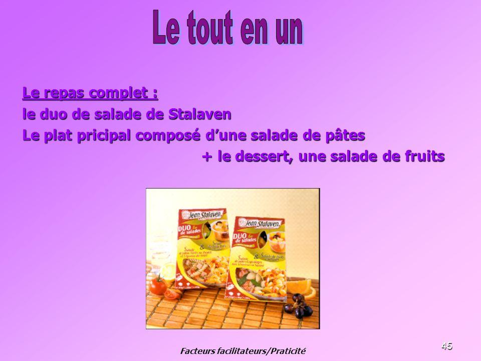 45 Le repas complet : le duo de salade de Stalaven Le plat pricipal composé dune salade de pâtes + le dessert, une salade de fruits + le dessert, une
