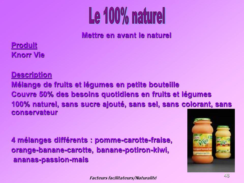 48 Mettre en avant le naturel Produit Knorr Vie Description Mélange de fruits et légumes en petite bouteille Couvre 50% des besoins quotidiens en frui