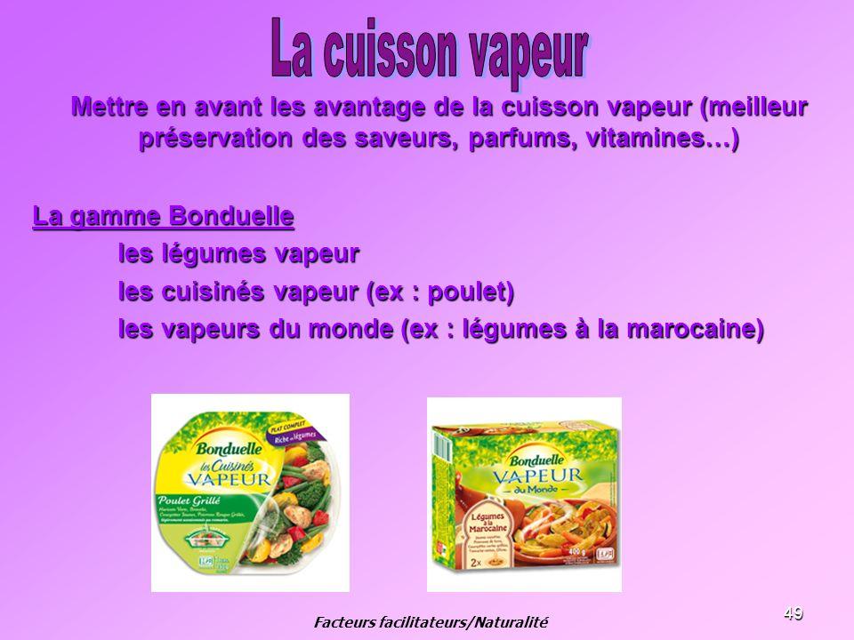 49 Mettre en avant les avantage de la cuisson vapeur (meilleur préservation des saveurs, parfums, vitamines…) La gamme Bonduelle les légumes vapeur le