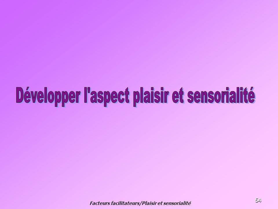 54 Facteurs facilitateurs/Plaisir et sensorialité