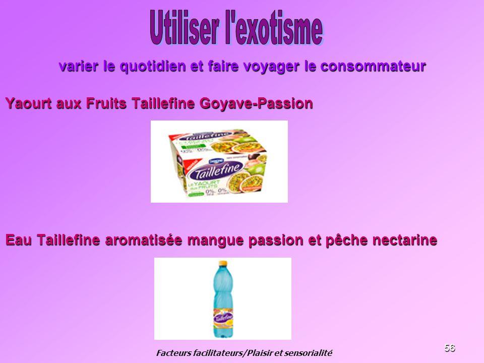 56 varier le quotidien et faire voyager le consommateur Yaourt aux Fruits Taillefine Goyave-Passion Eau Taillefine aromatisée mangue passion et pêche