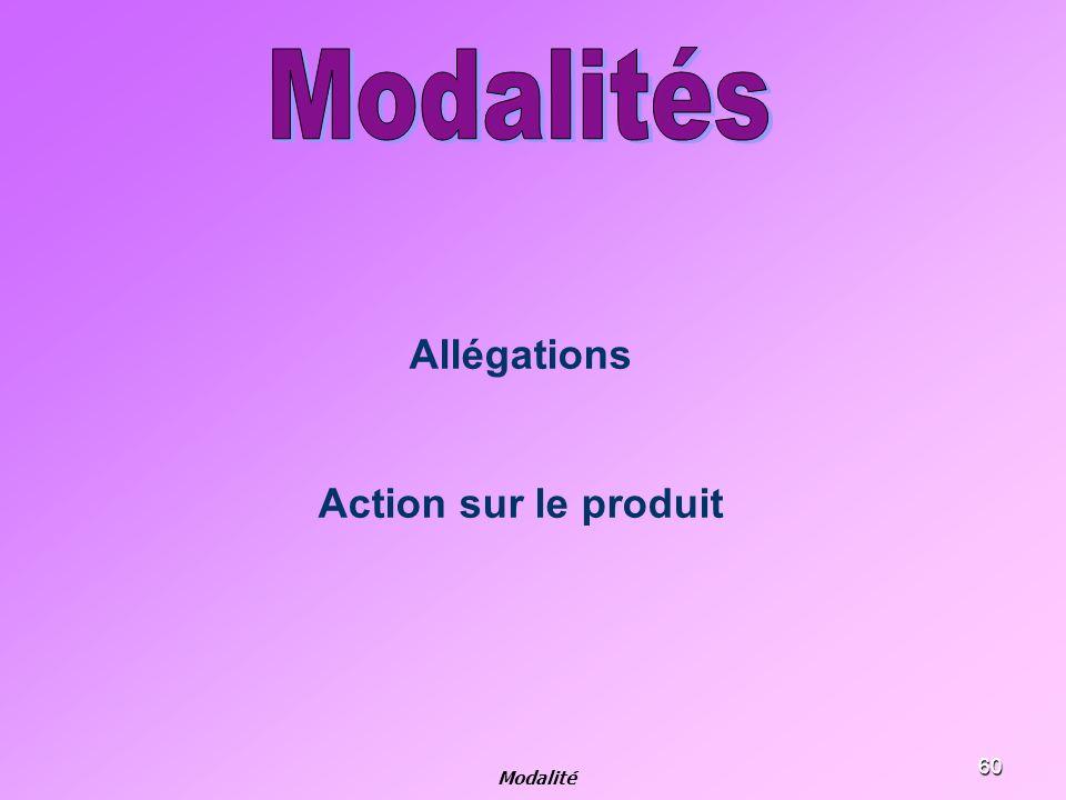 60 Allégations Action sur le produit Modalité