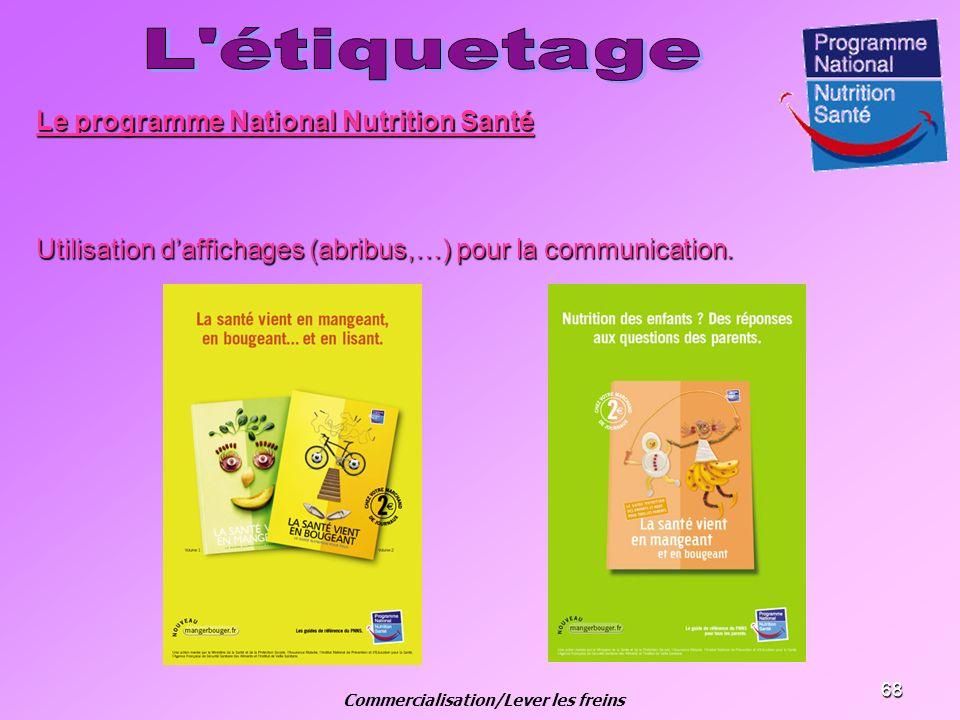 68 Le programme National Nutrition Santé Utilisation daffichages (abribus,…) pour la communication. Commercialisation/Lever les freins
