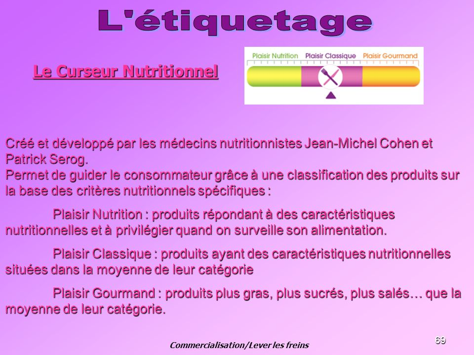 69 Créé et développé par les médecins nutritionnistes Jean-Michel Cohen et Patrick Serog. Permet de guider le consommateur grâce à une classification