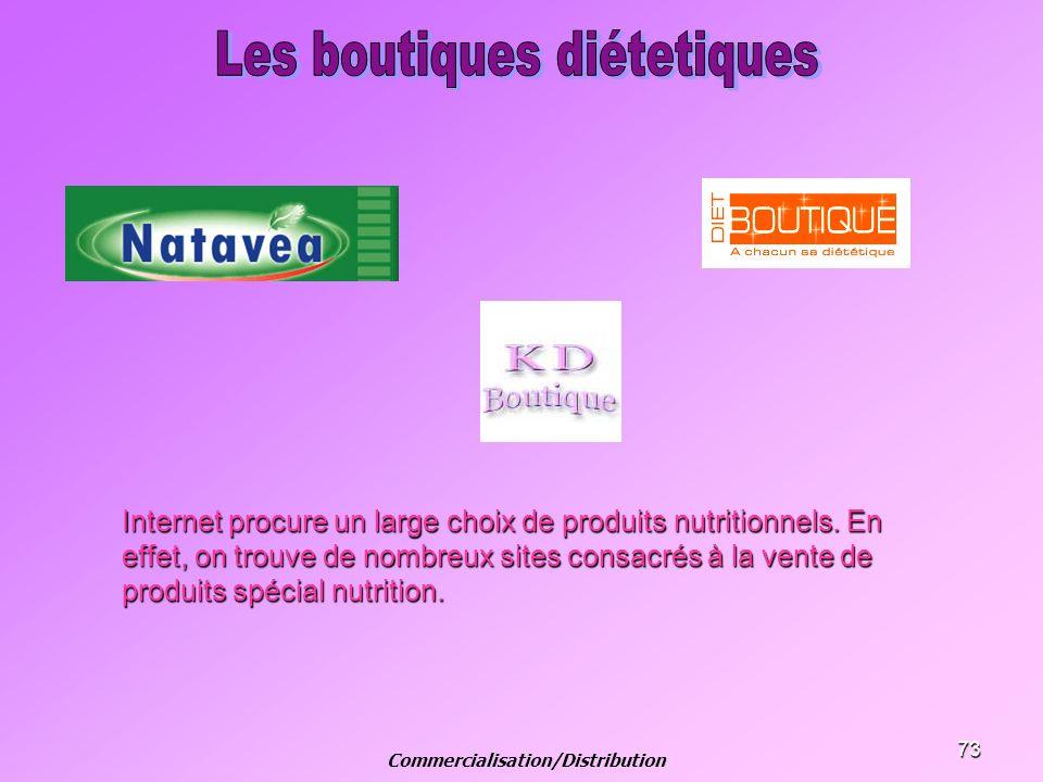 73 Internet procure un large choix de produits nutritionnels. En effet, on trouve de nombreux sites consacrés à la vente de produits spécial nutrition