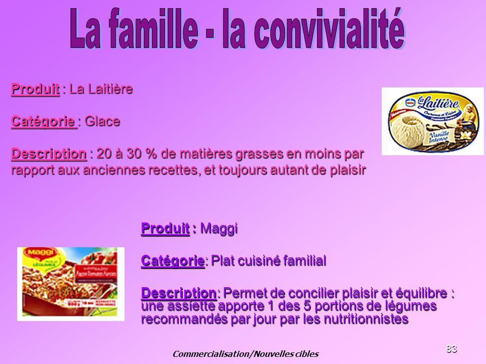 83 Produit : La Laitière Catégorie : Glace Description : 20 à 30 % de matières grasses en moins par rapport aux anciennes recettes, et toujours autant