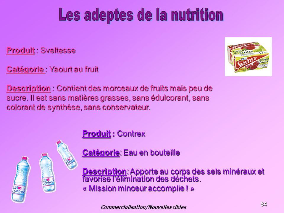 84 Produit : Sveltesse Catégorie : Yaourt au fruit Description : Contient des morceaux de fruits mais peu de sucre. Il est sans matières grasses, sans