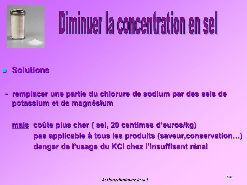 96 Solutions Solutions - remplacer une partie du chlorure de sodium par des sels de potassium et de magnésium - remplacer une partie du chlorure de so