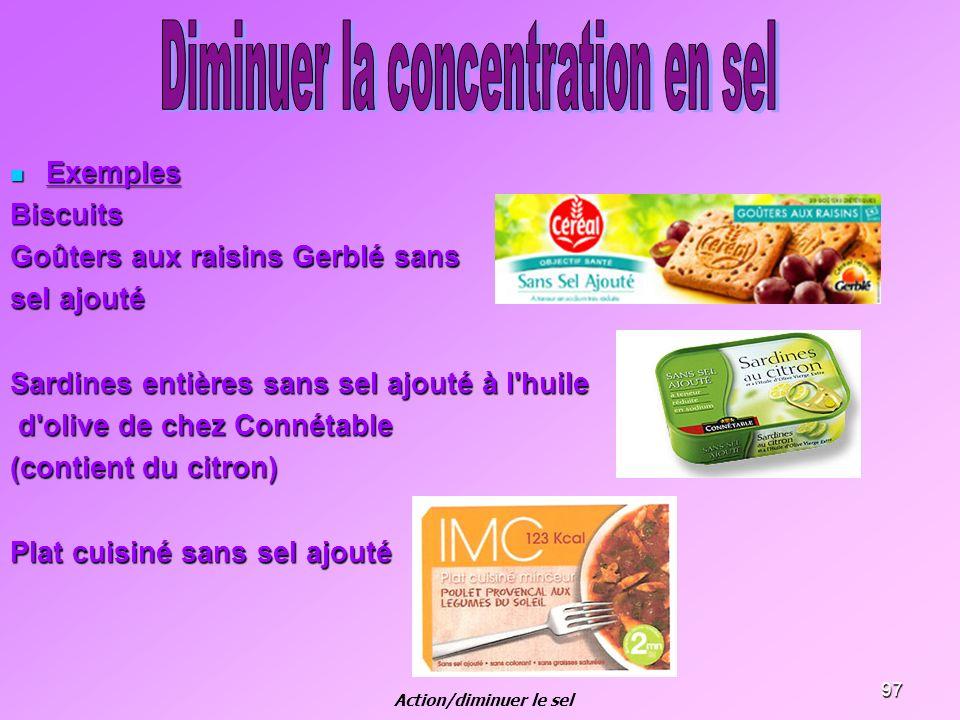 97 Exemples ExemplesBiscuits Goûters aux raisins Gerblé sans sel ajouté Sardines entières sans sel ajouté à l'huile d'olive de chez Connétable d'olive