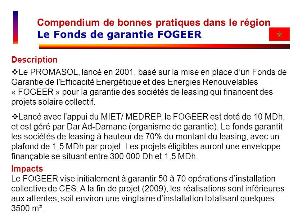 Compendium de bonnes pratiques dans le région Le Fonds de garantie FOGEER Description Le PROMASOL, lancé en 2001, basé sur la mise en place dun Fonds