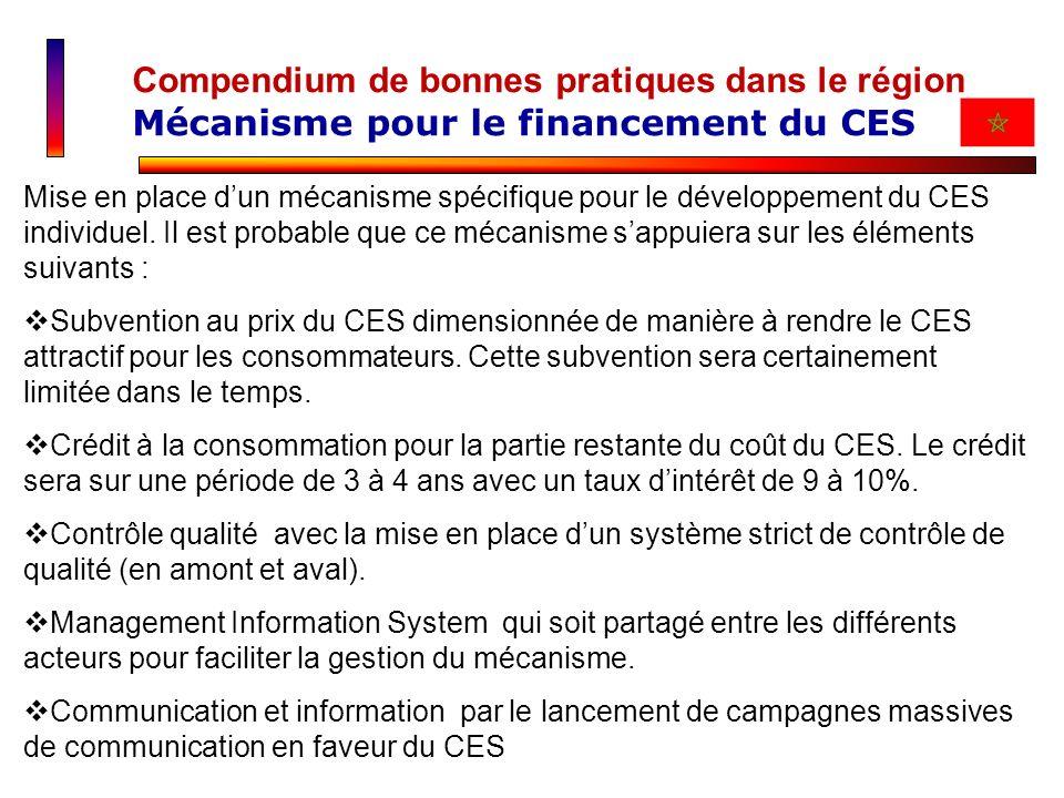 Compendium de bonnes pratiques dans le région Mécanisme pour le financement du CES Mise en place dun mécanisme spécifique pour le développement du CES