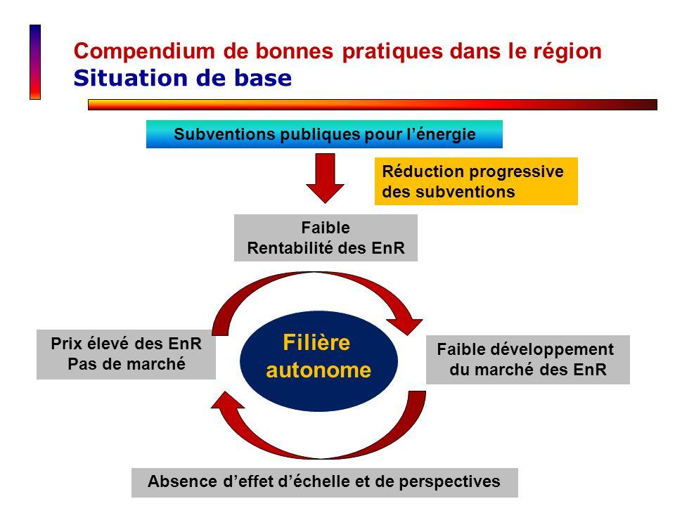 Compendium de bonnes pratiques dans le région Situation de base Réduction progressive des subventions Faible Rentabilité des EnR Faible développement