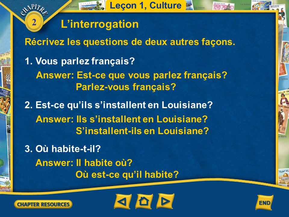 2 1.Vous parlez français. Récrivez les questions de deux autres façons.