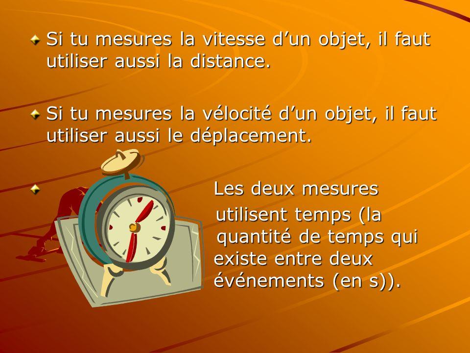 Si tu mesures la vitesse dun objet, il faut utiliser aussi la distance. Si tu mesures la vélocité dun objet, il faut utiliser aussi le déplacement. Le