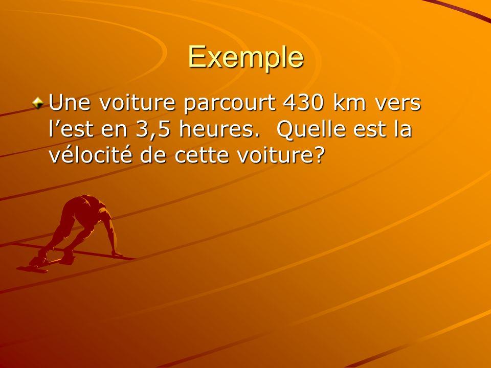 Exemple Une voiture parcourt 430 km vers lest en 3,5 heures. Quelle est la vélocité de cette voiture?
