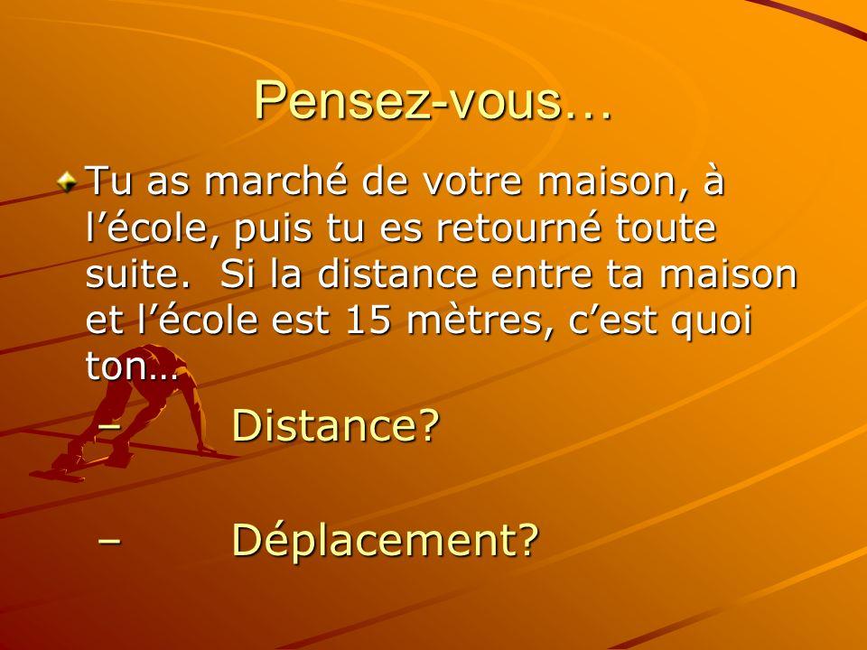 La distance ou Le déplacement La distance – la distance totale quun objet se déplace (pt A à pt B) Le déplacement – le changement totale dans le position dun objet.