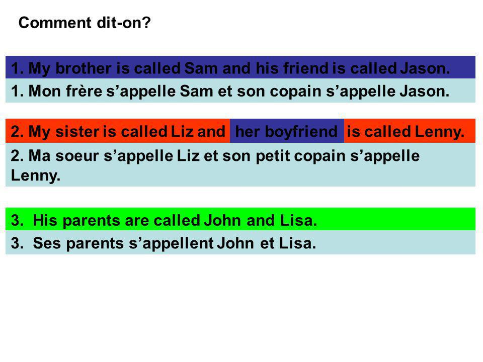 Comment dit-on? 1. My brother is called Sam and his friend is called Jason. 1. Mon frère sappelle Sam et son copain sappelle Jason. 2. My sister is ca