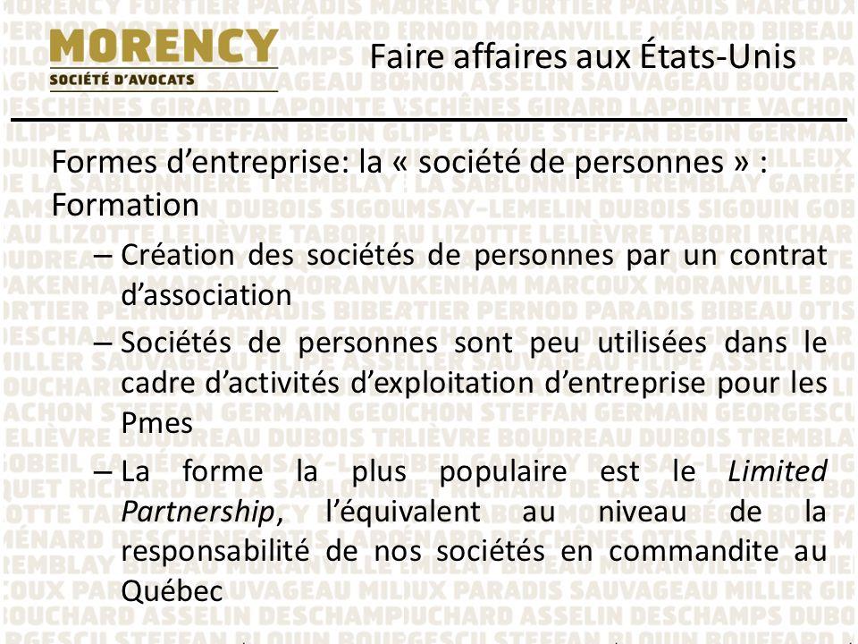 Formes dentreprise: la « société de personnes » : Formation – Création des sociétés de personnes par un contrat dassociation – Sociétés de personnes s