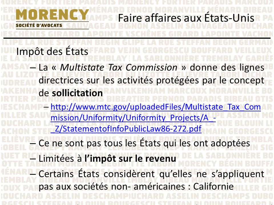 Impôt des États – La « Multistate Tax Commission » donne des lignes directrices sur les activités protégées par le concept de sollicitation – http://w