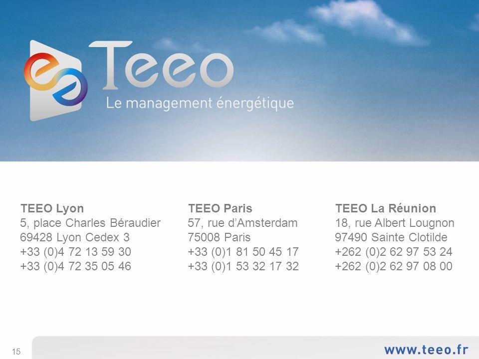15 TEEO Lyon 5, place Charles Béraudier 69428 Lyon Cedex 3 +33 (0)4 72 13 59 30 +33 (0)4 72 35 05 46 TEEO Paris 57, rue dAmsterdam 75008 Paris +33 (0)1 81 50 45 17 +33 (0)1 53 32 17 32 TEEO La Réunion 18, rue Albert Lougnon 97490 Sainte Clotilde +262 (0)2 62 97 53 24 +262 (0)2 62 97 08 00